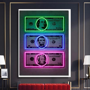 Neon Dollars Canvas
