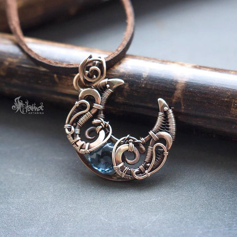 crescent moon wire wrapped necklace