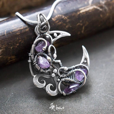 crescent moon with amethyst chips necklace