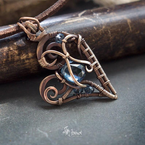 bronze wire wrapped heart pendant