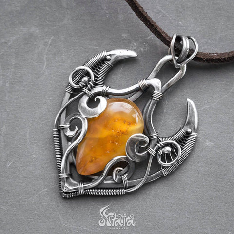 natural baltic amber silver necklace
