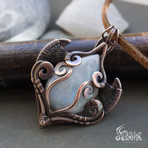 wire wrapped pendant with moonstone