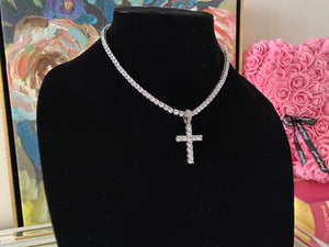 Deluxe Iced Cross Pendant & Tennis Chain Eternity Necklace