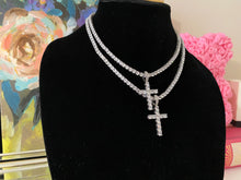 Load image into Gallery viewer, Deluxe Iced Cross Pendant & Tennis Chain Eternity Necklace