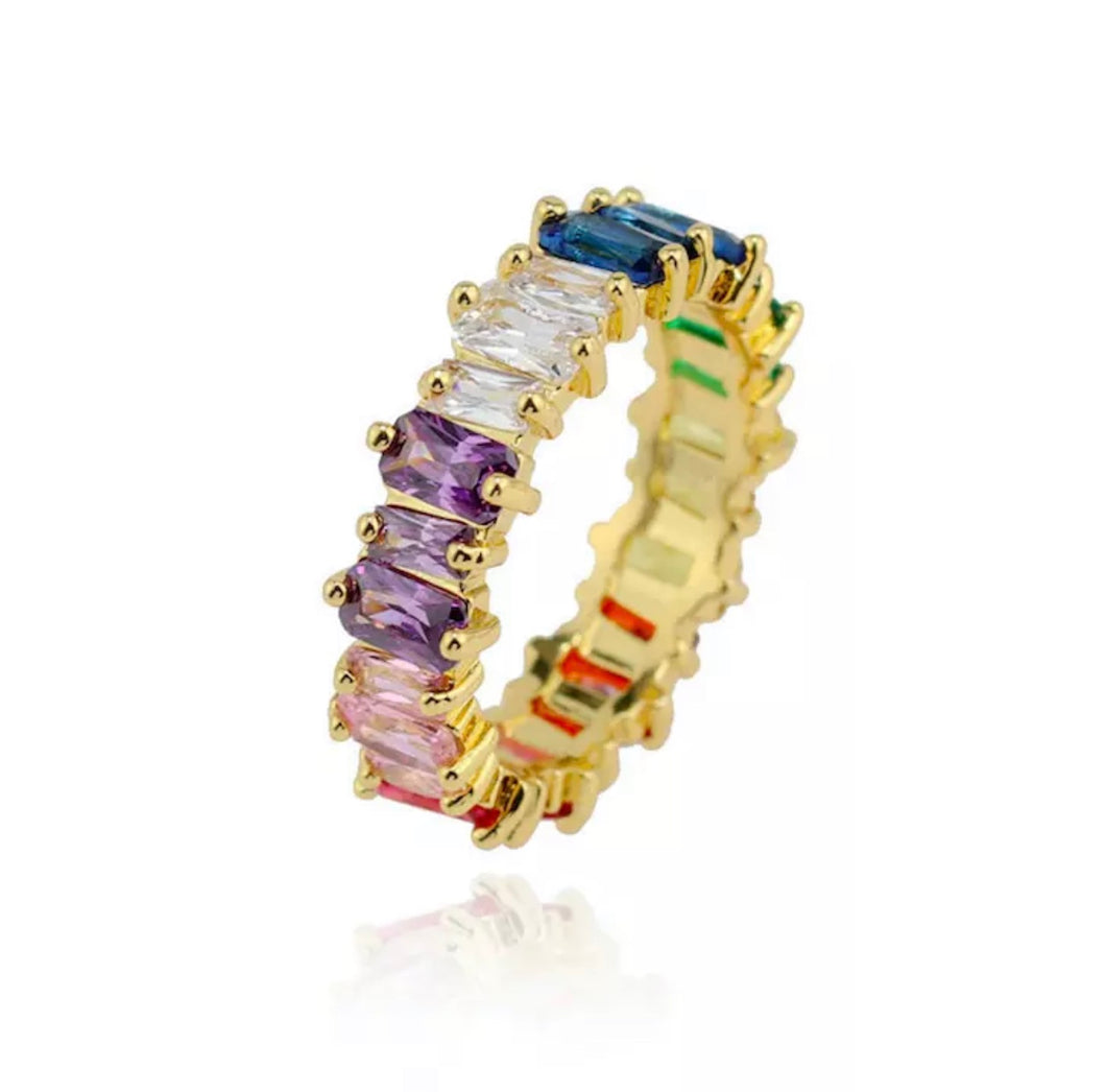 Rainbow Baguette Eternity Stackable Band