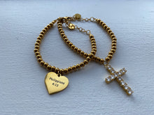 Load image into Gallery viewer, Faithfully Chic Phillippians 4:13 Heart & Crystal Encrusted Cross Dangle Charm Layer Bracelet Set - Gold or Silver Set of 2