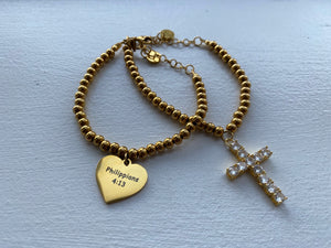 Faithfully Chic Phillippians 4:13 Heart & Crystal Encrusted Cross Dangle Charm Layer Bracelet Set - Gold or Silver Set of 2