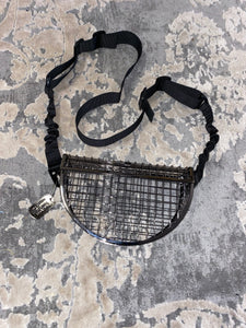 Ultra-Mod Convertible Caged Wire Half Moon Purse - Fabric Belt Strap w/ Dog Tag Keychain Clutch Bag