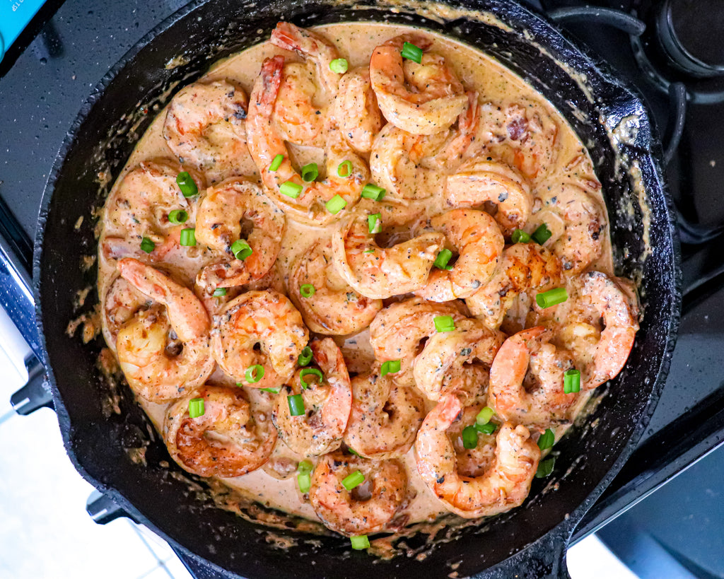 Creamy Shrimp with Yellow Grits and Bacon by Station 1923