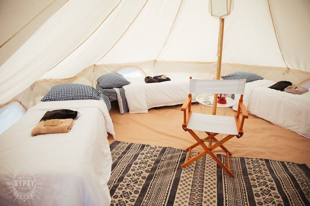 Group glamping set up from The Wild Gypsy Tour. Photo: @Genevieve_Davis