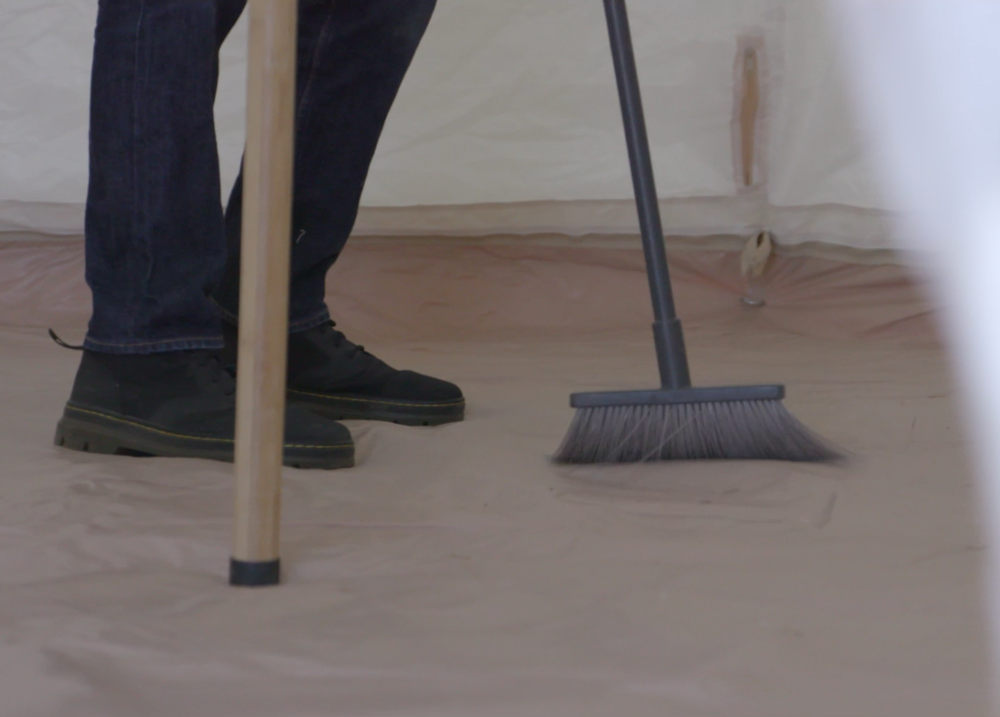 Cleaning a bell tent