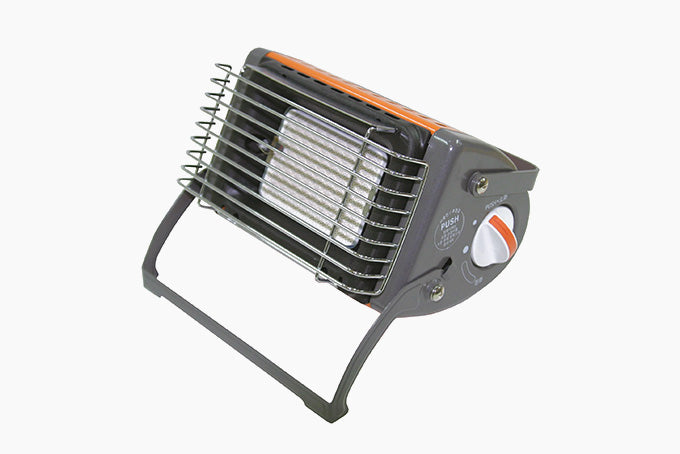 an orange and gray portable tent heater