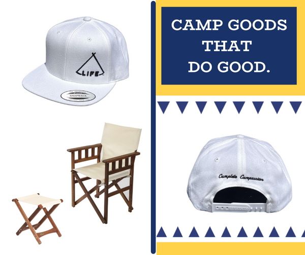 """A graphic that shows the front and back side of a white trucker hat, embroidered with the words """"camplete campassion"""", plus camp furnishings like a canvas butterfly chair and folding camp foot stool."""