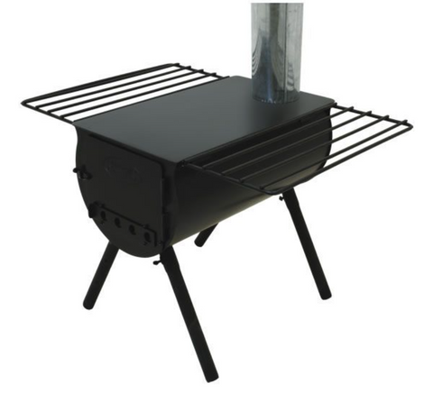 a classic cylindrical tent stove made of painted black stainless steel