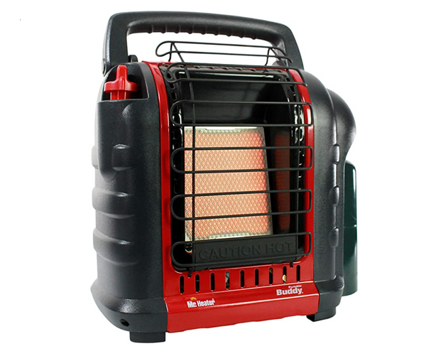 red and black Mr. Heater propane tent heater