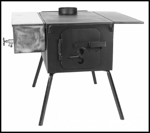 boxy black wood stove with side tank for hot water