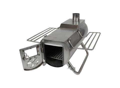 a stainless steel wood burning tent stove