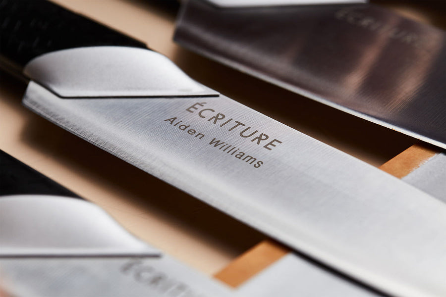 Exclusively for the Écriture Perfect Knives, you can personalize your knife with an engraving right on the blade!