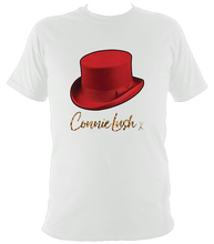 Load image into Gallery viewer, No.8: Red Top Hat & Leopard Autograph (White or Black T-shirt)