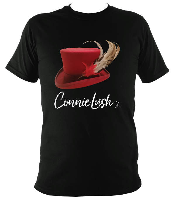 No.4: Ms Connie's Red Top Hat and Feathers (Black T-shirt)