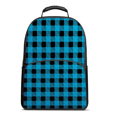 Blue Plaid - 17 Inch Felt Backpack
