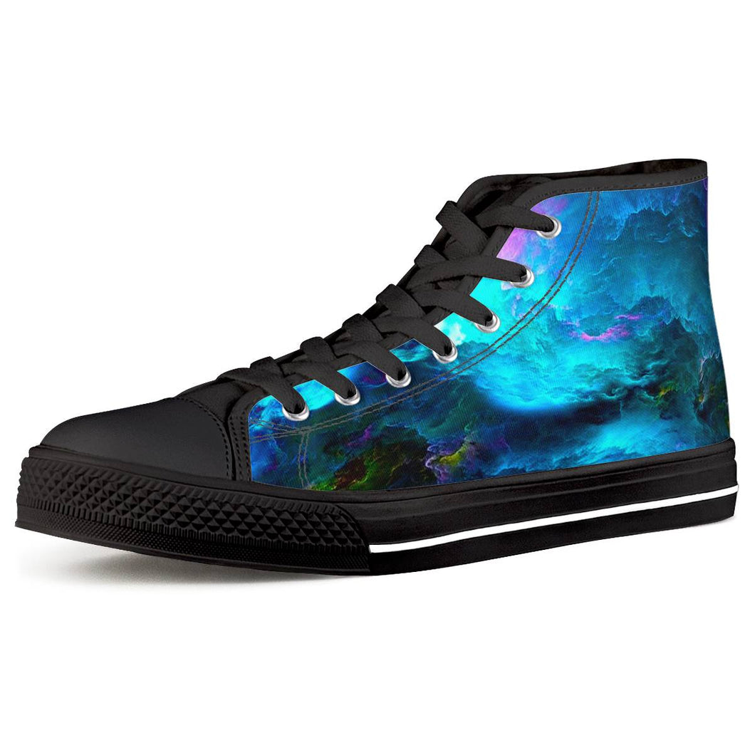 Dream Waves - Black High Top Canvas Shoes