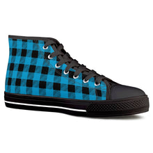 Load image into Gallery viewer, Blue Plaid - Black High Top Canvas Shoes