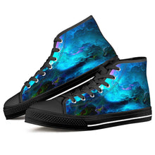 Load image into Gallery viewer, Dream Waves - Black High Top Canvas Shoes