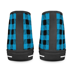 Blue Plaid - Black High Top Canvas Shoes