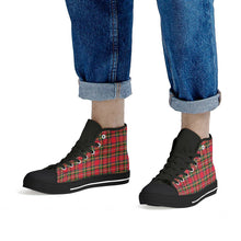 Load image into Gallery viewer, Red Plaid - Black High Top Canvas Shoes