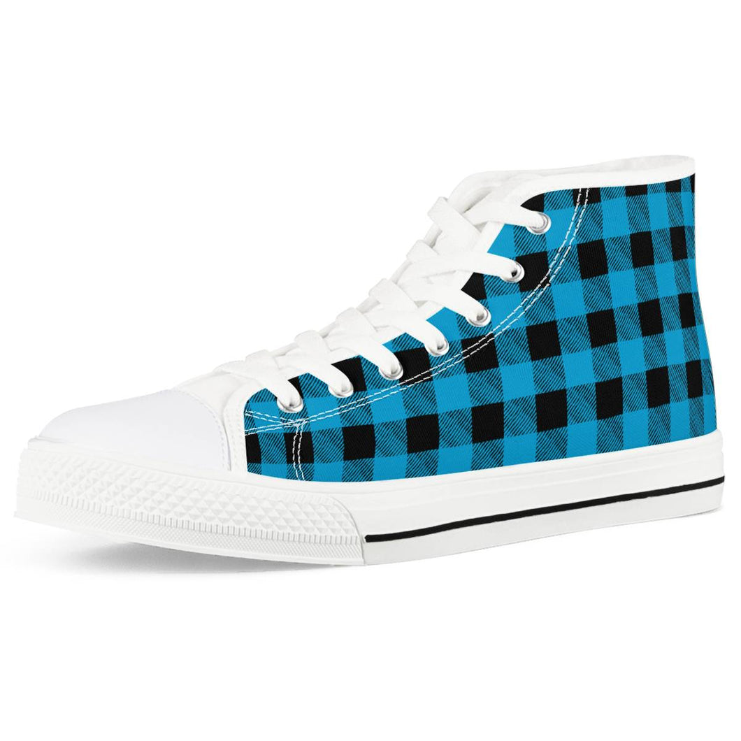 Blue Plaid - White High Top Canvas Shoes