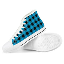 Load image into Gallery viewer, Blue Plaid - White High Top Canvas Shoes