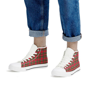 Red Plaid - White High Top Canvas Shoes