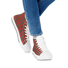 Load image into Gallery viewer, Red Plaid - White High Top Canvas Shoes