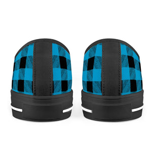 Blue Plaid - Black Low Top Canvas Shoes