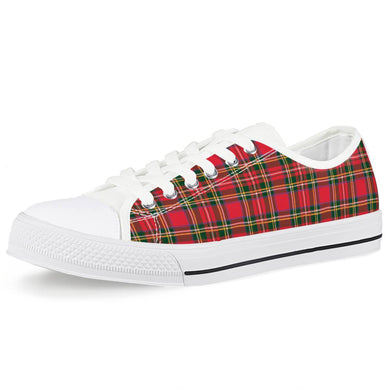 Red Plaid - White Low Top Canvas Shoes
