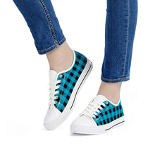 Load image into Gallery viewer, Blue Plaid - White Low Top Canvas Shoes