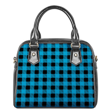 Blue Plaid - Shoulder Handbags