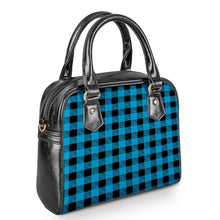Load image into Gallery viewer, Blue Plaid - Shoulder Handbags