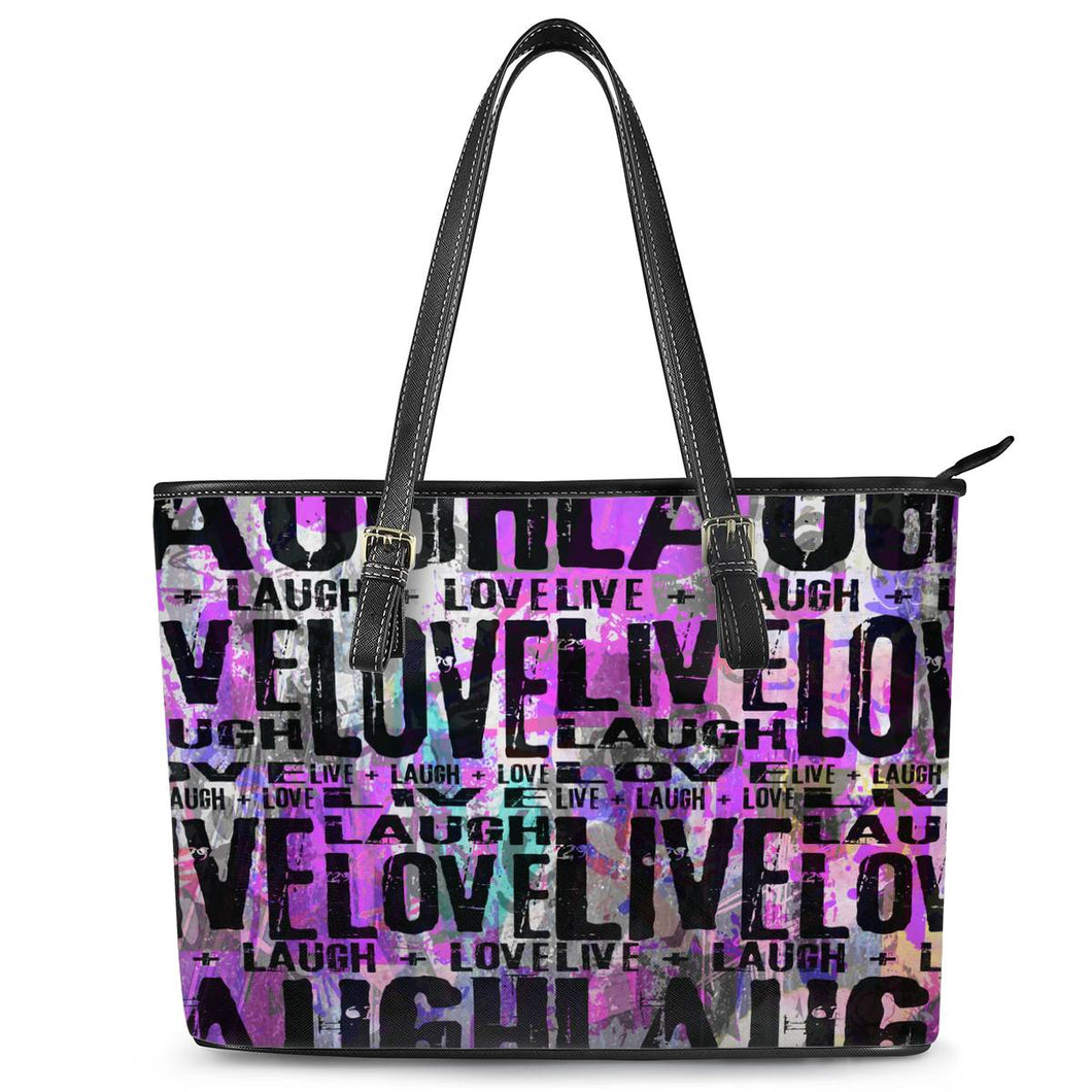 Live Laugh Love Leather Tote Bags