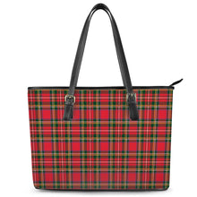 Load image into Gallery viewer, Red Plaid - Leather Tote Bags