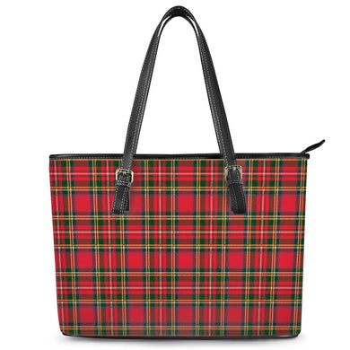 Red Plaid - Leather Tote Bags
