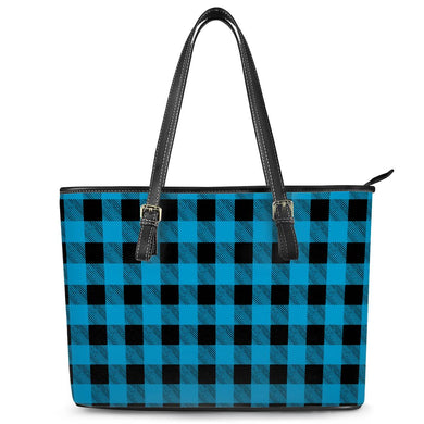 Blue Plaid - Leather Tote Bags
