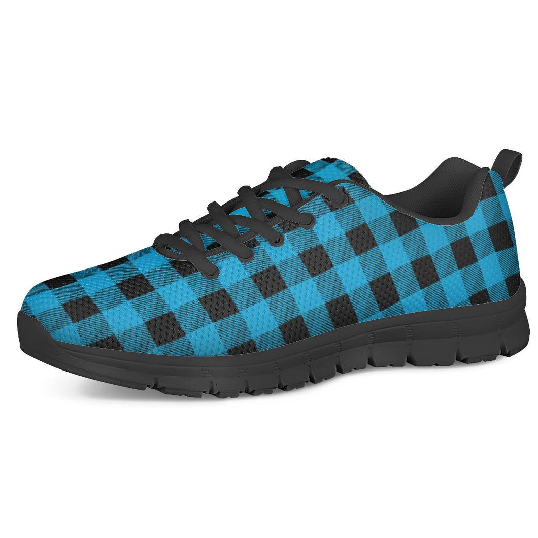 Blue Plaid - Black Running Shoes