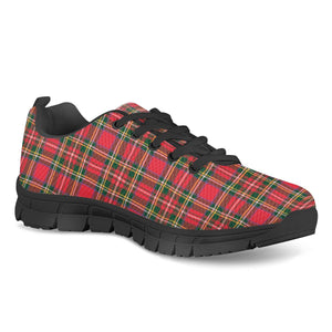 Red Plaid - Black Running Shoes
