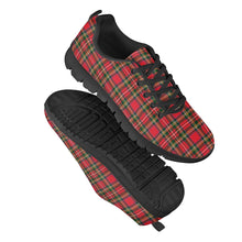 Load image into Gallery viewer, Red Plaid - Black Running Shoes