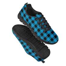 Load image into Gallery viewer, Blue Plaid - Black Running Shoes