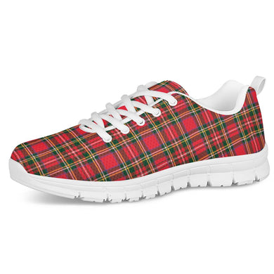 Red Plaid - White Running Shoes