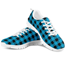 Load image into Gallery viewer, Blue Plaid - White Running Shoes