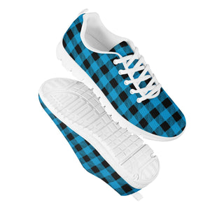 Blue Plaid - White Running Shoes